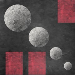 """Geometric MOON 17 Red Black Painting Embellished Giclee On Canvas 45 x 45"""""""
