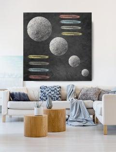 "Geometric MOON 15 Black Painting Embellished Giclee On Canvas 45 x 45"""