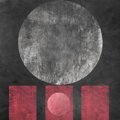 """Geometric MOON 27 RED Black Painting Embellished Giclee On Canvas 45 x 45"""""""