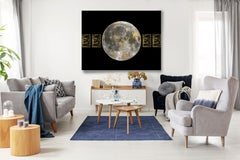 Gold MOON 4 Gold Black Space Painting Embellished Giclee On Canvas 45 x 60""