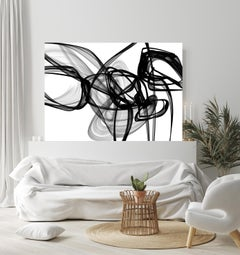 """Abstract Black White New Media Painting on Canvas, Fight, Minimalist 68 x 46"""""""