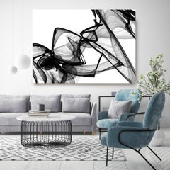"""Abstract Black White New Media Painting on Canvas, It was me, Minimalist 68x 46"""""""