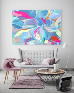 "Blue Pink Painting Textured Giclee on Canvas 40x 60"" A Piece of You"