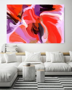 "Red Purple Abstract Painting Textured Giclee on Canvas 40x 60"" Fare Up"