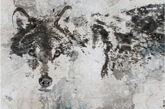 "Wolf Rustic Painting Hand Embellished Textured Giclee on Canvas, 60""WX40H"