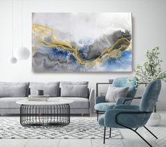 Blue Gold Coastal Watercolor Abstract  on Canvas Textured Giclee 70 x 40
