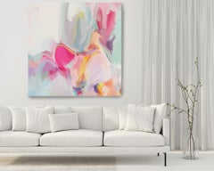 "Abstract Movement 7 Painting Art Hand Textured Giclee on Canvas 45x45"" Hot Pink"