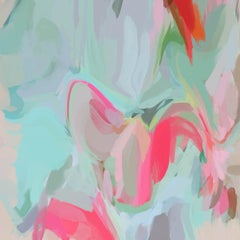 """Abstract Movement 5 in Teal and Pink, Art Hand Textured Giclee on Canvas 45x45"""""""