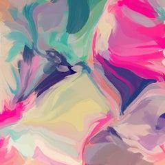 "Green Pink Modern Art Hand Textured Giclee on Canvas 45x45"" Fantastic Tomorrow"