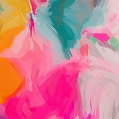 """Vibrant Pink Modern Art Hand Textured Giclee on Canvas 45x45"""" A Way Of Mine 2"""