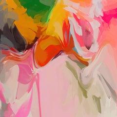 "Vibrant Boho Modern Art Hand Textured Giclee on Canvas 45x45"" Orange Petals 5"