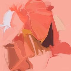 "Red Flow Art Hand Textured Giclee on Canvas 45x45"" Plasma Flows 2"