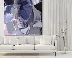 "Indigo Purple Painting Art Hand Textured Giclee on Canvas 45x45"" Plasma Flows 2"