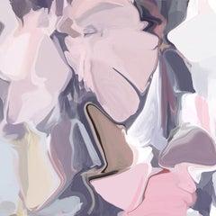 "Indigo Pink Art Hand Textured Giclee on Canvas 45x45"" Playful Movement 10"