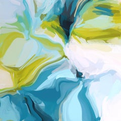 """Blue Green Abstract Painting Art Hand Textured Giclee on Canvas 45x45"""" Clarity"""