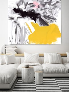 "Black Yellow Abstract Art Hand Textured Giclee on Canvas 45x45"" 1Hidden words"