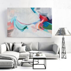 "White Red Blue Abstract Acrylic Painting on Canvas 68"" X 42"", Moments of Reality"