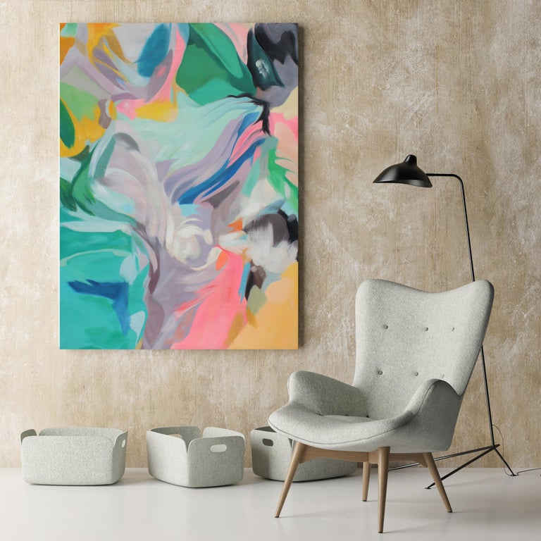 Teal Pink Abstract Gray Acrylic Painting, 48W X 36