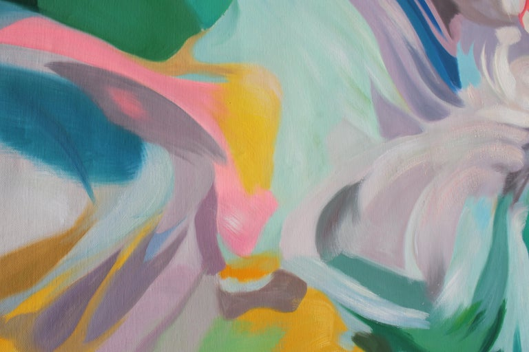Teal Pink Blue Abstract Acrylic Painting, 48W X 36
