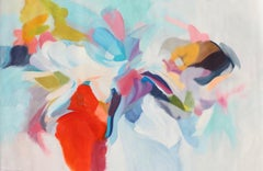 """Abstract Red Blue Green Original Acrylic Painting 42H X 68""""W, Invitation of Luck"""