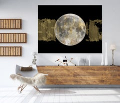 Gold Moon 3, Gold Black Silver Moon Mixed Media Painting On Canvas 40 x 54""