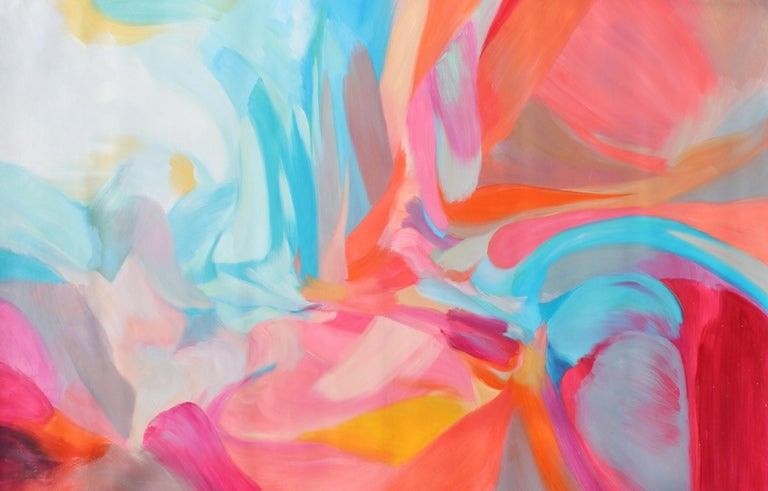 """Irena Orlov Abstract Painting - Abstract Flow Red Blue Acrylic Painting 42 H X 68""""W, Balance of Independence"""