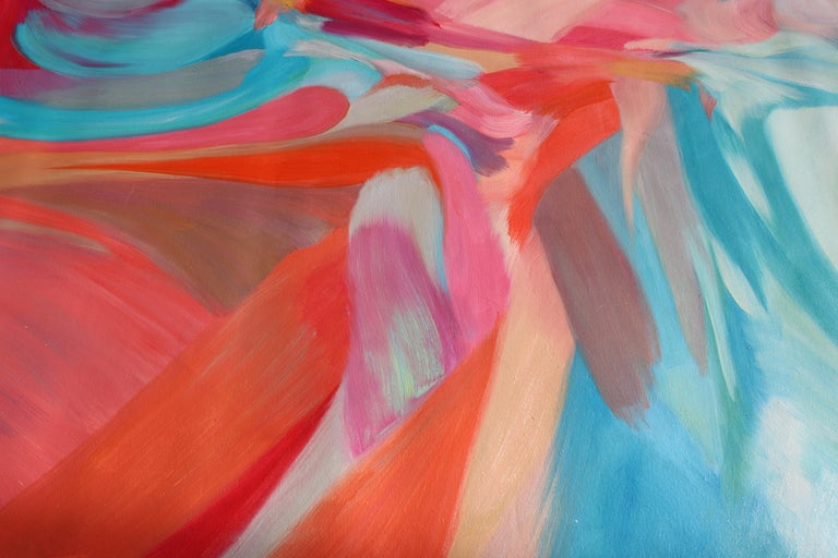 Abstract Red Blue Original Acrylic Painting 42 H X 68