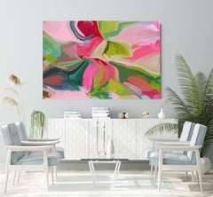 Contemporary Pink Painting Textured Giclee on Canvas 45Hx 70W""
