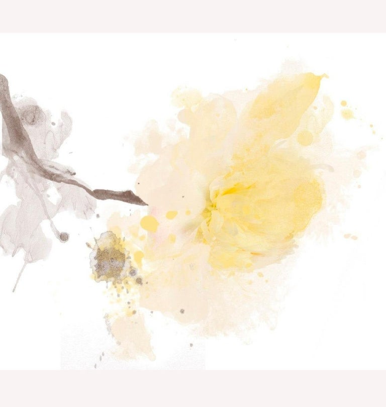 """Yellow Peony Minimalist Floral Painting A light touch. Mixed Media Canvas 50x50"""" - Mixed Media Art by Irena Orlov"""