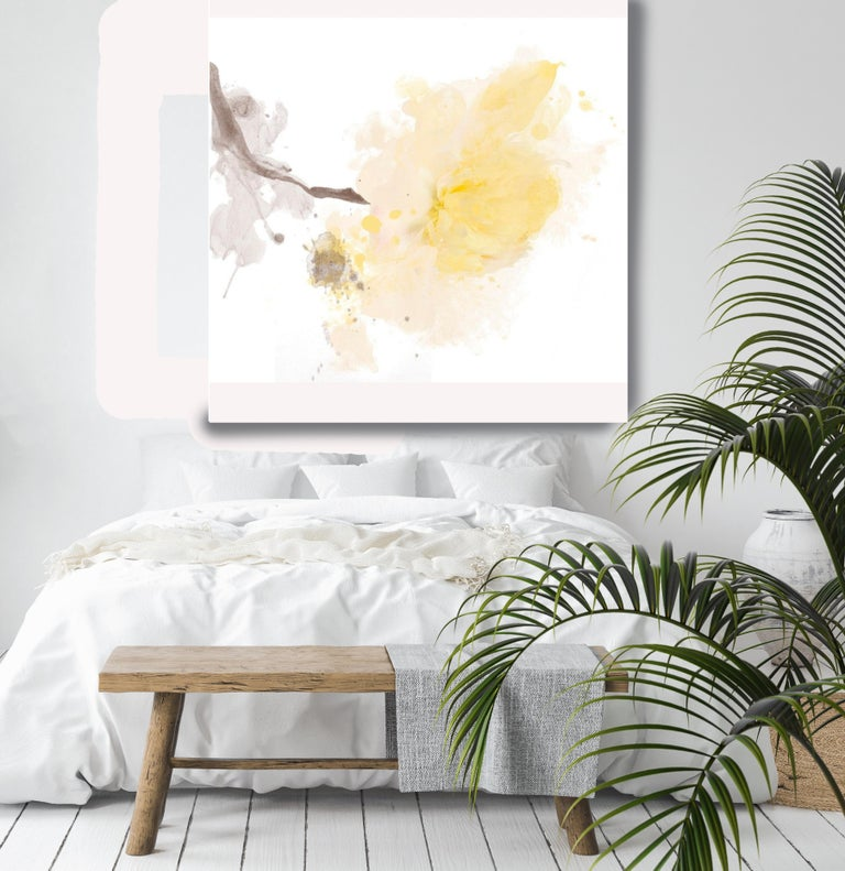 Yellow Peony Minimalist Floral Painting A light touch. Mixed Media Canvas 50x50