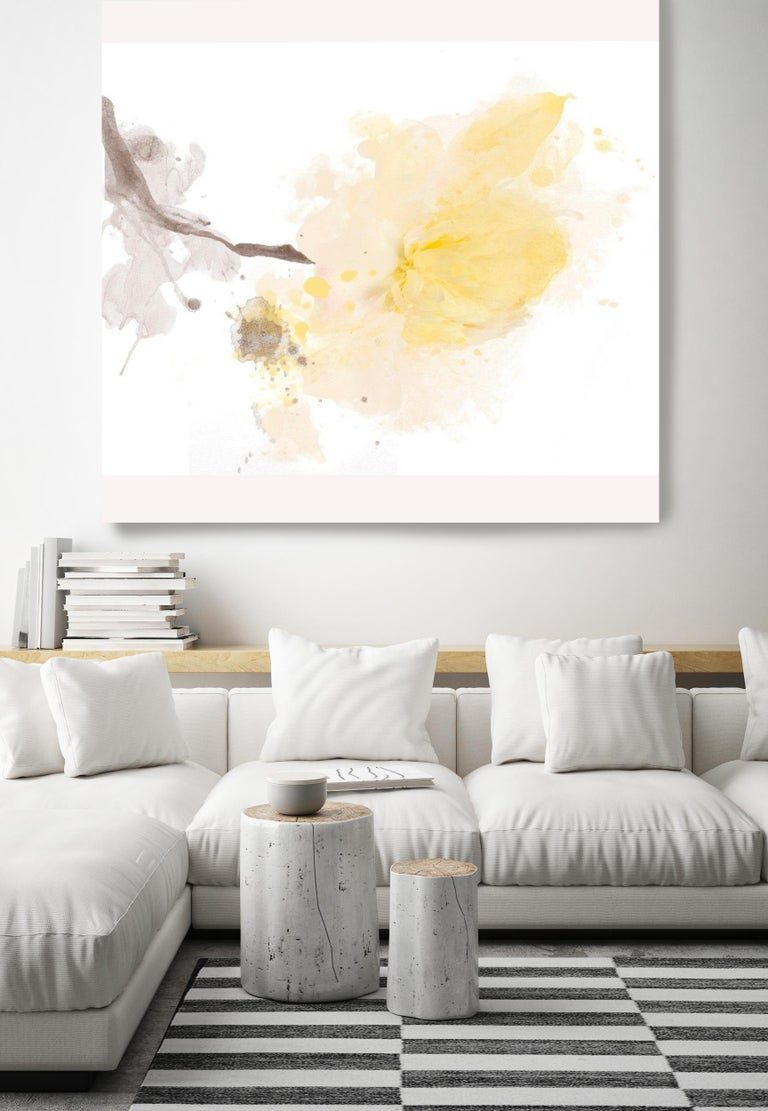 Yellow Peony, Minimalist Floral Painting, A light touch. 50 x 50