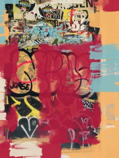 """Street Art, Graffiti, Red Textured Giclee on Canvas 48W x 72H"""", A New Direction"""