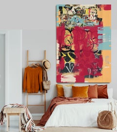 """Street Art, Graffiti, Red Textured Giclee on Canvas 45W x 70H"""", A New Direction"""