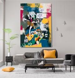 "Graffiti, Street Art,Textured Giclee on Canvas 45W x 70H"", Things Beyond Measure"