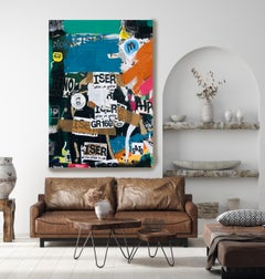 "Graffiti, Street Art,Textured Giclee on Canvas 45W x 70H"", Walking Past"