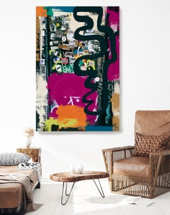 """Graffiti Painting Textured Giclee on Canvas 45W x 70H"""" The World as it is"""