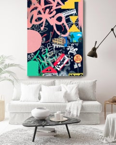 """Graffiti Art Painting Textured Giclee on Canvas 45W x 70H"""" Out of Meaning"""