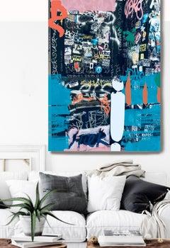 "Graffiti, Street Art,Textured Giclee on Canvas 45W x 70H"", Industrial Stretch"
