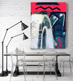 """Street Art Graffiti, Red Textured Giclee on Canvas 45W x 70H"""" After a short walk"""
