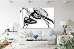 """Black White Minimalist New Media Painting on Canvas, 44x72"""" What did you see?"""