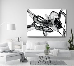 "Black White Minimalist New Media Painting on Canvas, 44x72"" Chemical Reaction"