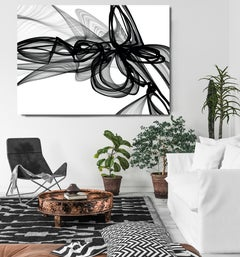 """Black White Minimalist New Media Painting on Canvas, 60x45"""" Me in my own world"""