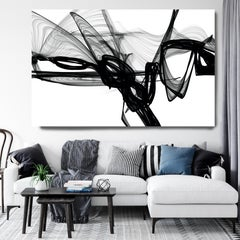 """Minimalist Black White New Media Painting on Canvas, 44x72"""" Everything and More"""