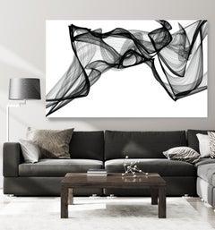 "Minimalist Black White New Media Painting on Canvas, 44x72"" I've got the Spirit"