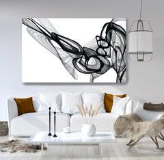 "Minimalist Black White New Media Painting on Canvas, 44x72"" Experiment"