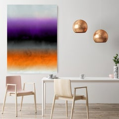 """Orange Purple Ombre Painting Hand Textured Giclee on Canvas 40W x 60H"""""""