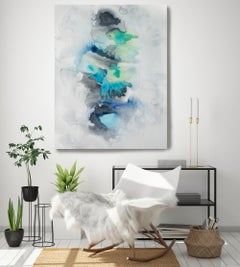 """Blue Watercolor Painting Hand Textured Giclee on Canvas 40W x 60H"""" Milky Way"""