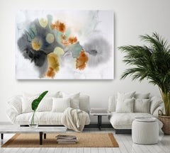 Green Orange Watercolor Painting Hand Textured Giclee on Canvas 60W x 40H""