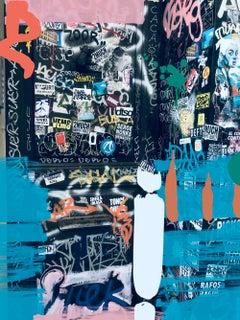 "Blue Graffiti, Street Art Mixed Medium on Canvas 45W x 60H"", Industrial Stretch"
