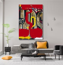 "Red Graffiti Art on Canvas, Mixed Medium on Canvas 45x60"" Telling the Stories"